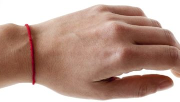 Mazel red String Bracelet on Wrist