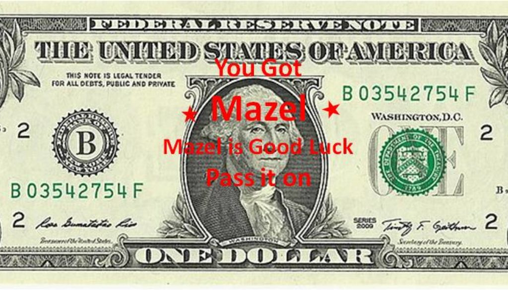 Good Luck Dollar charity pass it on