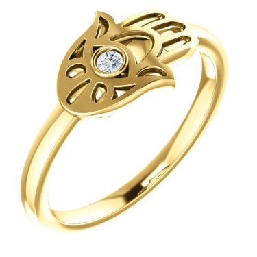 Gold Diamond Hamsa Ring