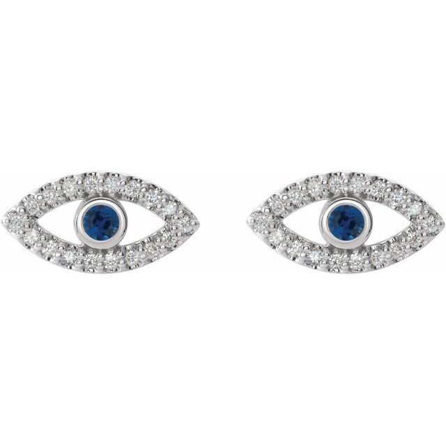 EVIL EYE EARRINGS 14K White Gold