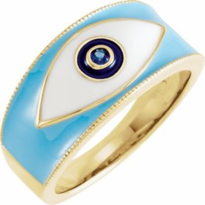 14K Yellow Blue Sapphire Evil Eye Ring