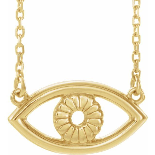 Evil Eye Yellow Gold Necklace