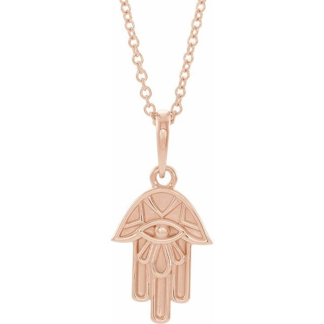 Hamsa Evil Eye 14K Rose Gold Necklace