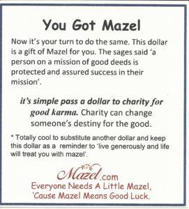 You Got Mazel Good Luck Dollar