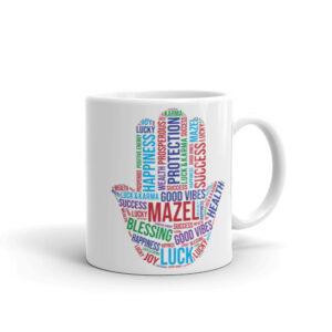 Hamsa Mazel Good Vibes - White Glossy Coffee Mug