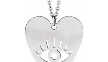 Evil Eye Heart Sterling Silver Heart 16-18 Necklace